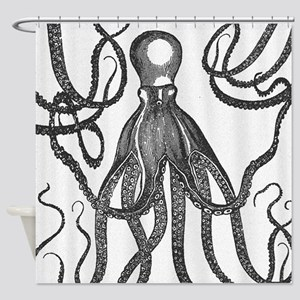Black Exquisite Ancient Octopus Shower Curtain