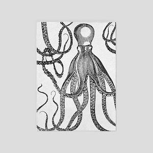 Black Exquisite Ancient Octopus 5'x7'Area Rug