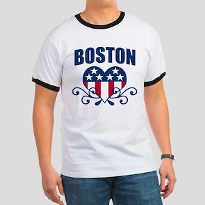 Boston  Stars and Stripes Hea Ringer T