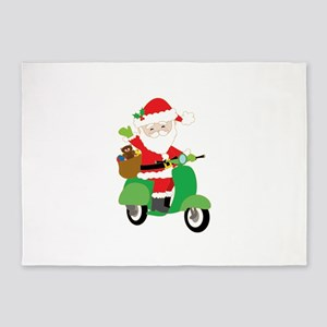 Santa on a Scooter 5'x7'Area Rug