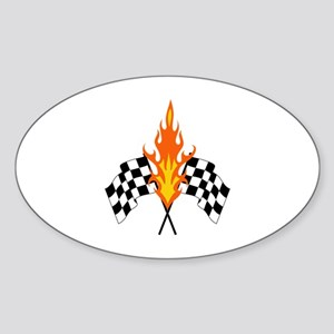 FLAMING RACING FLAGS Sticker