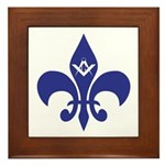 Masonic Fleur De Lis - Blue Framed Tile