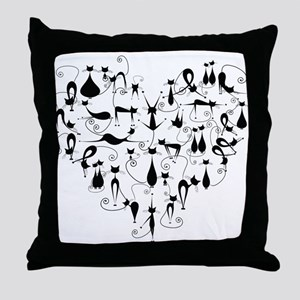 Heart Cats Throw Pillow
