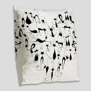 Heart Cats Burlap Throw Pillow