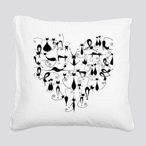 Heart Cats Square Canvas Pillow