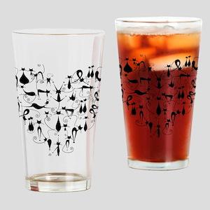 Heart Cats Drinking Glass