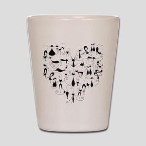 Heart Cats Shot Glass
