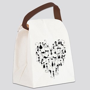 Heart Cats Canvas Lunch Bag