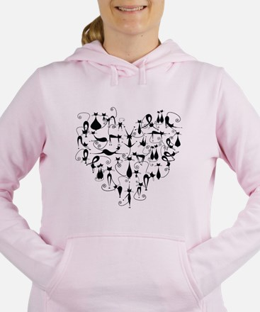Heart Cats Women's Hooded Sweatshirt