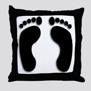 Bare foot Prints Throw Pillow