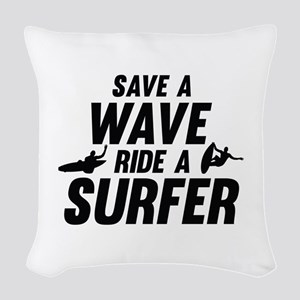 Save A Wave Ride A Surfer Woven Throw Pillow