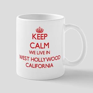 Keep calm we live in West Hollywood Californi Mugs