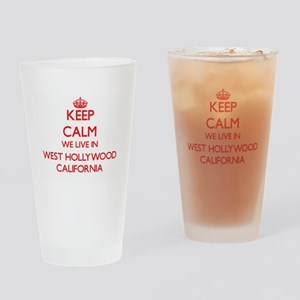 Keep calm we live in West Hollywood Drinking Glass