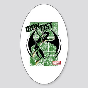 Iron Fist Green Panels Sticker (Oval)