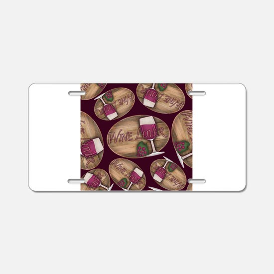 Wine Lover Wood Board Aluminum License Plate