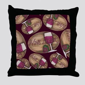 Wine Lover Wood Board Throw Pillow