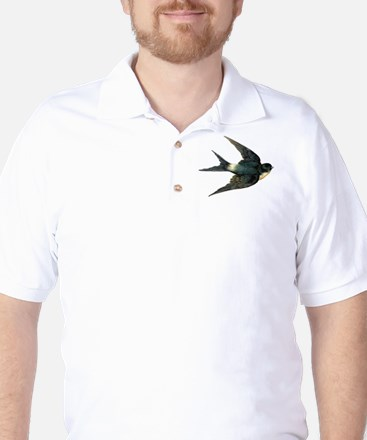 Vintage Swallow Bird Art Golf Shirt