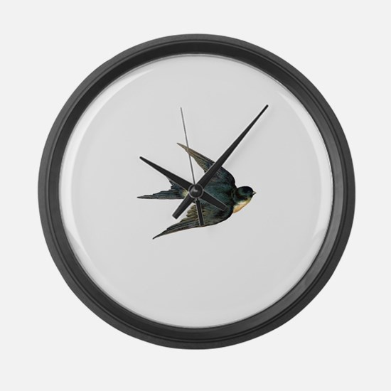 Vintage Swallow Bird Art Large Wall Clock