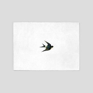 Vintage Swallow Bird Art 5'x7'Area Rug