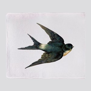 Vintage Swallow Bird Art Throw Blanket