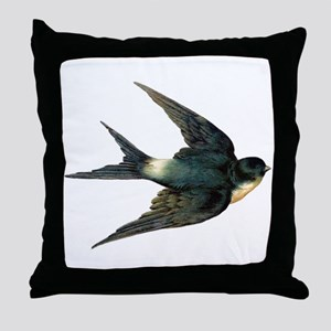Vintage Swallow Bird Art Throw Pillow