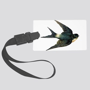 Vintage Swallow Bird Art Large Luggage Tag