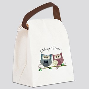 Owlways & Forever Cute Owls art Canvas Lunch Bag