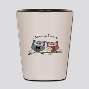 Owlways & Forever Cute Owls art Shot Glass