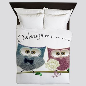 Owlways & Forever Cute Owls art Queen Duvet
