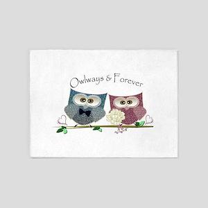 Owlways & Forever Cute Owls art 5'x7'Area Rug