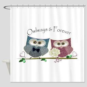 Owlways & Forever Cute Owls art Shower Curtain