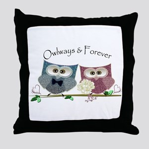 Owlways & Forever Cute Owls art Throw Pillow