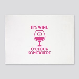 It's Wine O'Clock Somewhere 5'x7'Area Rug