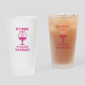 It's Wine O'Clock Somewhere Drinking Glass