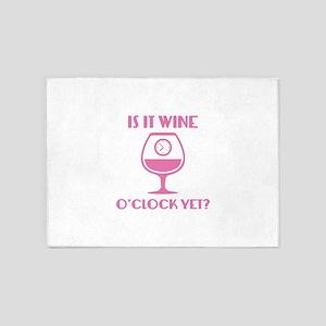 Is It Wine O'Clock Yet? 5'x7'Area Rug