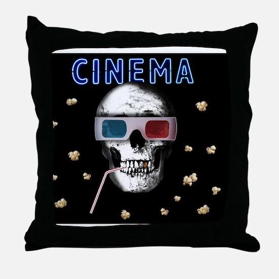 Cute Popcorn horror Throw Pillow