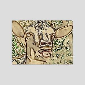 Nigerian Dwarf Goat In Gold 5'x7'Area Rug