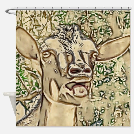 Nigerian Dwarf Goat In Gold Shower Curtain