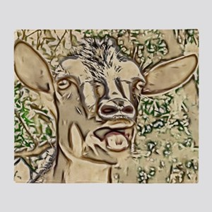 Nigerian Dwarf Goat In Gold Throw Blanket