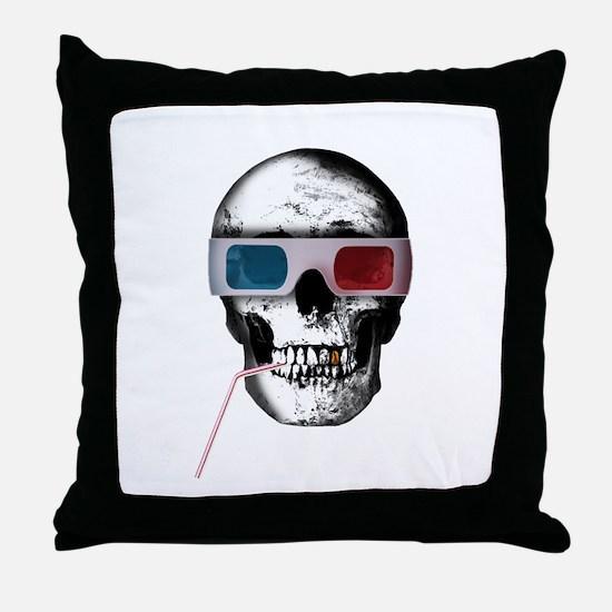 Cinema skull Throw Pillow