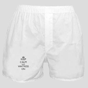 Keep Calm and Waitress ON Boxer Shorts