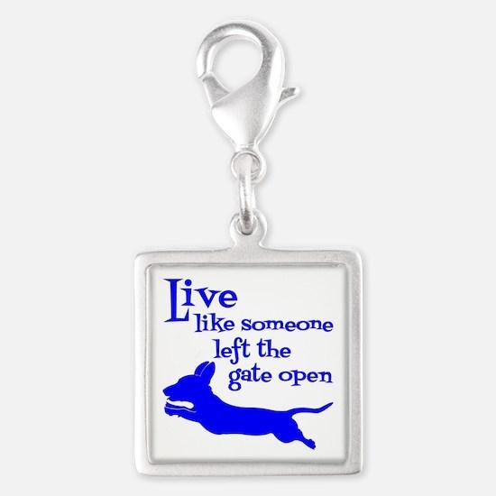 OPEN GATE! Silver Square Charm