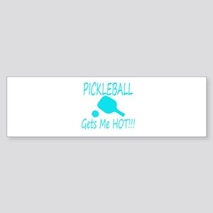 Pickleball gets me hot with paddle Bumper Sticker