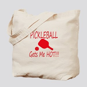Pickleball gets me hot with paddle Tote Bag
