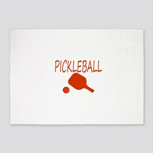 Pickleball with ball and paddle sport 5'x7'Area Ru