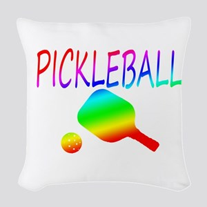 Pickleball with ball and paddle sport Woven Throw