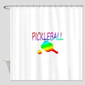 Pickleball with ball and paddle sport Shower Curta