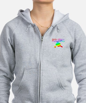 Pickleball with ball and paddle sport Zip Hoodie