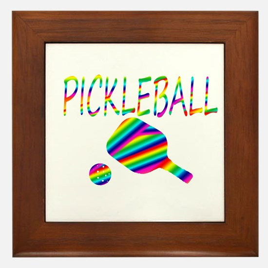 Pickleball with ball and paddle sport Framed Tile