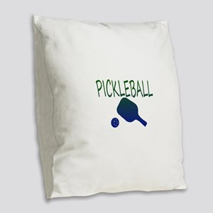 Pickleball with ball and paddle sport Burlap Throw